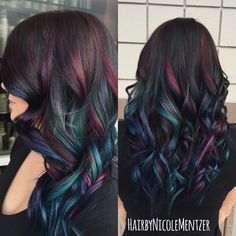 Oil slick hair color A trend that actually works on people with dark hair! Oil Slick Hair Color, Cool Hair Color, Peacock Hair Color, Galaxy Hair Color, Hair Color For Kids, Crazy Hair Color Ideas For Brunettes, Hair Color Tips, Mermaid Hair Colors, Rainbow Hair Colors