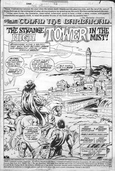 Comic Art For Sale from Coollines Artwork, BUSCEMA, JOHN - Conan the Barbarian #56 pg 1 splash, Conan & gang approach city, signed, 1975 by Comic Artist(s) John Buscema