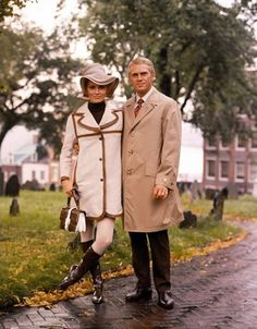 "Faye Dunaway & Steve McQueen on the set of Norman Jewison's ""The Thomas Crown Affair"""