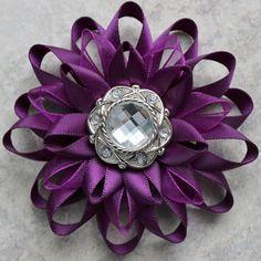 Deep Purple Flower Pin Deep Purple Corsage by PetalPerceptions