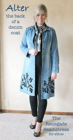 Simple Alteration=Big Change for a Denim Coat | eHow Crafts | eHow...also love the stenciled design..great idea for to plain coat