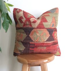 Decorative pillow cover made with a vintage Turkish Hand woven Kilim rug. Add a wonderful Bohemian touch to your decor! Kilim Pillows, Kilim Rugs, Throw Pillows, Crochet Instructions, Decorative Pillow Covers, Hand Weaving, Ethnic, Beige, Pure Products