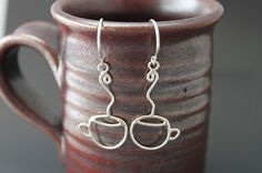 COFFEE CUPS - Sterling Silver Earrings - Ready to shipFrom tladesigns