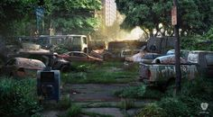 #HunterCity is concept art for #PlayStation 3 game #TheLastofUs. The image and print have been made by concept artist #MaciejKuciara for studio #NaughtyDog and is part of the official The Last of Us fine art print collection. Signature by Maciej Kuciara. #TLOU