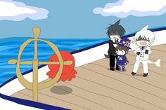 Tags: Anime, Wadanohara and the Great Blue Sea, Tarako (Wadanohara), Sal (Wadanohara), Samekichi, Wadanohara, Witch Hat
