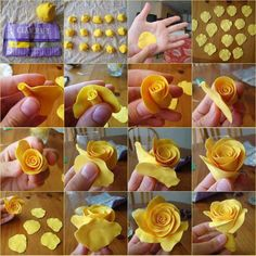 Cake decorating with fondant fimo New ideas Rose En Fondant, Fondant Flowers, Sugar Flowers, Diy Flowers, Fondant Icing, Chocolate Fondant, Modeling Chocolate, Fondant Cakes, Polymer Clay Flowers