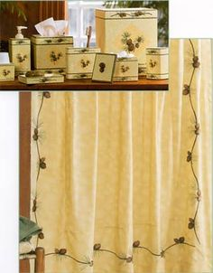 Home » Bathroom Decor Accessories For Lodge or Cabin » CLEARANCE - Barn Raising Pine Cone Shower Curtain & Accessories