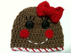 Gingerbread man or girl hat.   do pink on the bottom and a pink bow for hk  blue on the bottom for m