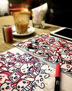 WEBSTA @ myindodoodle - All day all night. #indodoodle #doodle #doodles #doodling #drawing #art #sketch #neko #cat #coffee #kawaii #cute #pink #blue