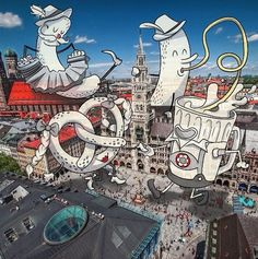 Oktoberfest in Munich, Germany. Cheryl Heap illustration on a photo