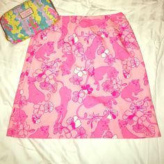 LILLY PULITZER pink lions GRRRANIUM cats skirt 0 Classic lined skirt in a pink cat printawesomeExcellent condition and very clean. MAKE ME AN OFFER Let's Bundle! Lilly Pulitzer Skirts Midi