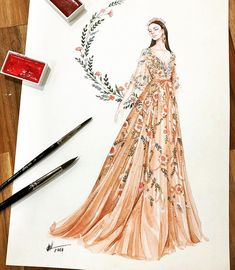 Mode Skizzen Kleider Aquarelle Ideen - - Source by grossmilena fashion sketch Dress Design Sketches, Fashion Design Sketchbook, Fashion Design Drawings, Fashion Sketches, Drawing Sketches, Drawing Art, Sketching, Fashion Drawing Dresses, Fashion Illustration Dresses
