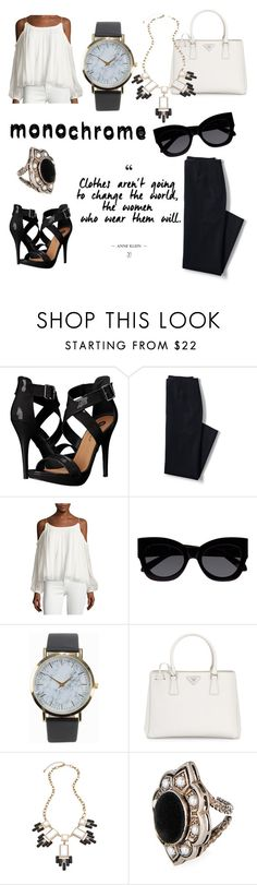 """Untitled #97"" by ann-98 ❤ liked on Polyvore featuring Michael Antonio, Lands' End, Elizabeth and James, Karen Walker, NLY Accessories, Prada, Blu Bijoux, Gucci and monochrome"