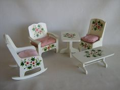 Vintage 50s White Wooden Furniture Collection w/ Hand by TheToyBox