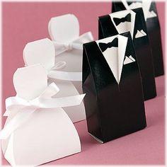 100 X Bride And Groom Wedding Bomboniere Cake Boxes Dress/Tuxedo 50+50