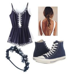 """""""Navy Blue Vacation Day"""" by taylor-wyatt02 on Polyvore featuring Converse and Wet Seal"""