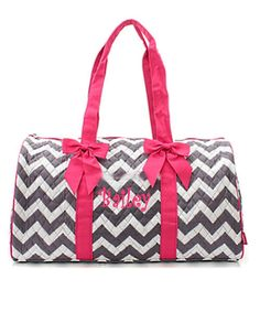 e031bde57289 Personalized Quilted Large Gray Chevron Duffel Bag Gym Dance or Overnight  Hot Pink Trim - Monogram FREE- Zig Zap Pattern