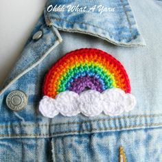 This cheerful and bright rainbow brooch has been crocheted with Scheepjes Catona mercerised cotton yarns which gives it a lovely sheen and stitch definition. The rainbow has white fluffy clouds and is backed with red felt. It has a standard brooch bac. Rainbow Crochet, Crochet Baby, Free Crochet, Knit Crochet, Crochet Crafts, Crochet Projects, Crochet Stitches, Crochet Hooks, Knitting Patterns