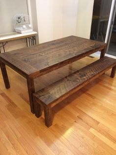 Rustic Dining Table with Matching Bench Porch Table, Dining Table, Cottage Porch, Wooden Tables, Furniture Decor, Craft Projects, Bench, Woodworking, Rustic