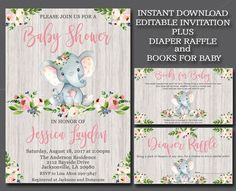 Girl Elephant Baby Shower Invitation kit, Editable elephant Invitation Rustic Invitation template Book for Baby & Diaper Raffle suite, 052 Boy Baby Shower Themes, Baby Shower Favors, Baby Shower Parties, Baby Boy Shower, Baby Shower Decorations, Baby Shower Invitations, Baby Girl Elephant, Elephant Theme, Elephant Birthday