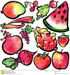 Red Fruits And Vegetables Drawing