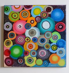 Abstract Circle Acrylic Painting on Canvas by HeatherMontgomeryArt, $49.00