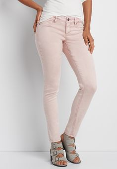 DenimFlex™ washed jegging in misty peach