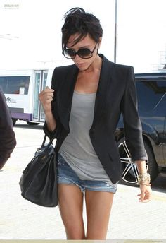 black blazer, gray tee, jean shorts