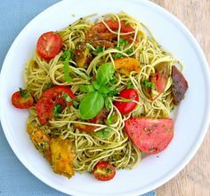 Heirloom Tomatoes with Pesto & Angel Hair