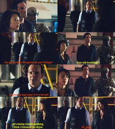 lol! I loved this part!!! They were both so satisfied!   Agents Of S.H.I.E.L.D.   Coulson, Ward, May
