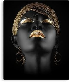 Black and gold beauty - Eye Makeup Black Women Art, Black Art, Black Gold, Black Women Quotes, Art Visage, African Art Paintings, Foto Art, My Black Is Beautiful, Stunningly Beautiful
