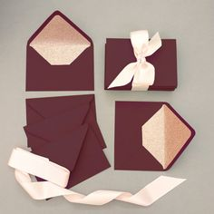 Luxurious and refined, these Marsala wine coloured envelopes and Rose Gold glitter lined envelopes will spectacularly finish your wedding invitations. These are a magnificent way to set the tone of your Wedding and get your guests excited! Theyll be the first thing your guests see