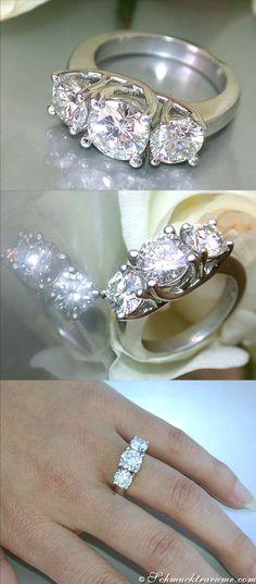 Three Solitaire Diamond Ring, 3,28 cts. H/G-SI2/SI1, Platinum-950 - Visit: schmucktraeume.com - Like: www.facebook.com/... - Mail: info@schmucktraeu...