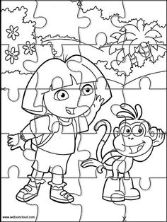 Printable jigsaw puzzles to cut out for kids Dora the Explorer 119