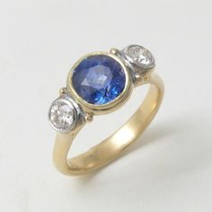 Caleb Meyer Blue Sapphire and Diamond Platform Ring #3405