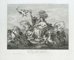 Jacopo Leonardis | Neptunus en Thetis, Jacopo Leonardis, 1765 | Neptunus en Thetis op een grote schelp die wordt voortgetrokken door twee hippocampussen. Rondom zwemmen nereïden en meermannen. Tweeregelig Italiaans vers in ondermarge. Genummerd rechtsonder: No 12.