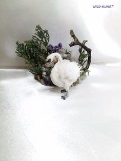 OOAK Dollhouse Miniature Swan Hand Flocked Animals Pet 1:12 Nico.Kunst  | eBay