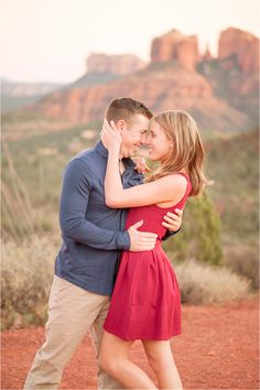 Cozy fall engagement session in Sedona, AZ with red dress - Photos by Drew Brashler Photography