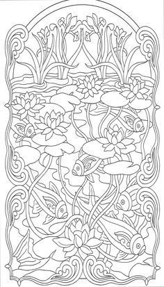 This makes me want to have a koi pond. Art Nuveau Animal Designs 2 from Dover Publications www.doverpublicat… Make your world more colorful with free printable coloring pages from italks. Our free coloring pages for adults and kids. Dover Coloring Pages, Printable Coloring Pages, Free Coloring, Adult Coloring Pages, Coloring Sheets, Coloring Books, Doodle Coloring, Mandalas Drawing, Zentangles