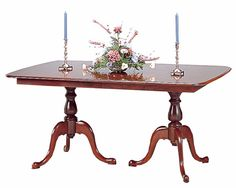 Cherry Double Pedestal Dining Table by Colonial Furniture Double Pedestal Dining Table, Oval Table, Dining Room Furniture, Furniture Making, Cherry Furniture, Pembroke Table, Colonial Furniture, Corner Table, Furniture Factory