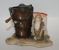 Cat Figurine, Schmid Border Fine Arts, Scottish Hand Made Cat Figurine, Tiger Cat, Lowell Davis, Afternoon Treat