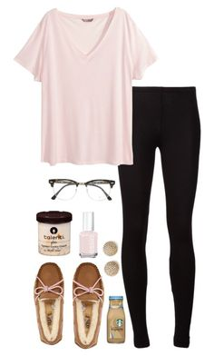 """""""my sleeping schedule is so messed up"""" by alexisfloyd ❤ liked on Polyvore featuring Splendid, H&M, UGG Australia, Ray-Ban, Michael Kors and Essie"""