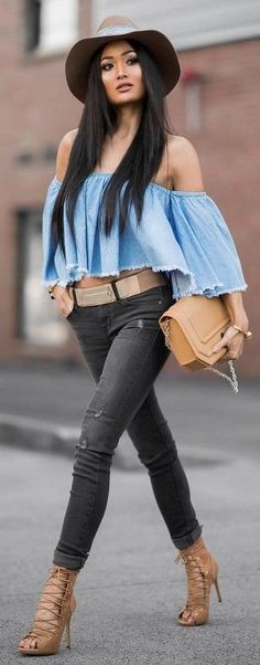 #Street #Fashion   Off he Shoulder Cuttoff Denim Top, CAmel Bag, Black Ripped Jeans, + Camel Lace Up Pumps  Micah Gianneli