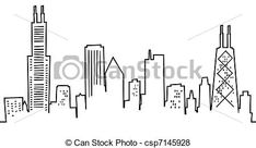 Stock Illustration of Cartoon Chicago Skyline - Cartoon skyline ...