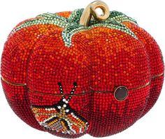 Judith Leiber Full Bead Red Crystal Tomato Minaudiere Evening Bag