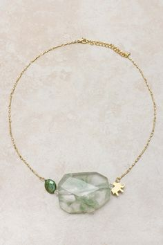 Minty Elephant Charm Necklace on Emma Stine Limited