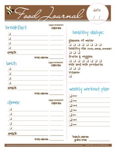 Free food journal.... I love this I just printed it and it looks like it is going to be a big help but it in a picture fame and hang it with a dry erase marker or laminate  it and keep it close by.