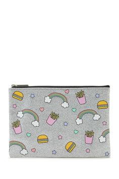 A makeup pouch featuring various graphics including rainbows, cheeseburgers and fries, a glitter design, and a top zipper.