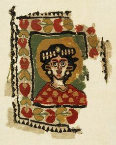 A Coptic tapestry panel with a bust of a hallowed female -  Circa 6th-8th Century A.D. -  The stylised bust depicting a woman, within nimbus, wearing a diadem and earrings with a red and yellow spotted tunic, within a border of heart-shaped flowers, 11in x 9in (28cm x 22cm)
