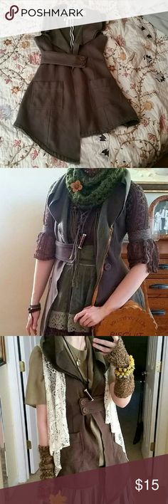 Green Assymetrical Fairy Mori Style Vest Jacket On hold!  An adorable and unique assymetrical cut vest that's perfect for virtually any time of the year! Looks very fairy or elven esque! Size small in near perfect used condition. ***All purchases come with a free gift! Knitted Dove Jackets & Coats Vests